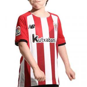 Camiseta New Balance Athletic Club niño 2021 2022 - Camiseta infantil primera equipación New Balance del Athletic Club de Bilbao 2021 2022 - roja y blanca - completa frontal