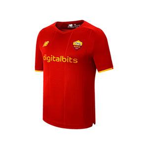 Camiseta New Balance AS Roma niño 2021 2022 - Camiseta infantil primera equipación New Balance AS Roma 2021 2022 - granate
