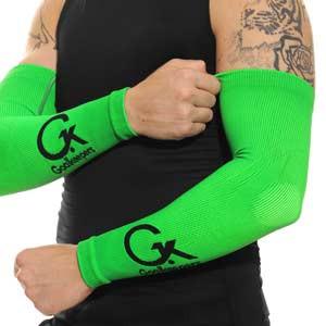 Manguitos Goalkeepers portero - Manguitos de portero compresivo y antiabrasión - verde flúor - frontal