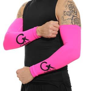 Manguitos Goalkeepers portero - Manguitos de portero compresivo y antiabrasión - rosa flúor - frontal