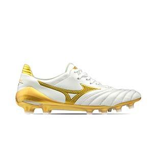 Mizuno Morelia Neo 2 Japan MD - Botas de fútbol piel canguro Mizuno MD césped natural o artificial de última generación - blancas y doradas - pie derecho