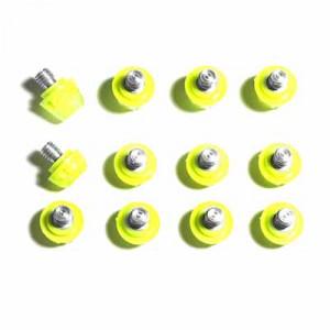 12x tacos goma TPU botas fútbol adidas Studiamonds amarillo - 12 uds. tacos recambiables de plástico TPU de 8x6mm posición delantera y 4x9mm posición trasera para botas de fútbol adidas (excepto World Cup y Kaiser) - amarillo flúor