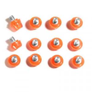 12x tacos goma TPU botas fútbol adidas Studiamonds naranja - 12 uds. tacos recambiables de plástico TPU de 8x6mm posición delantera y 4x9mm posición trasera para botas de fútbol adidas (excepto World Cup y Kaiser) - rosa flúor