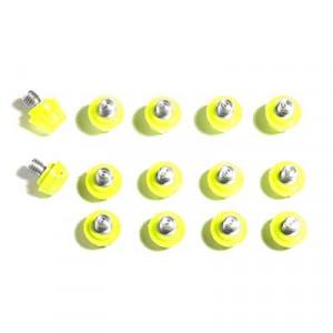 14x tacos goma TPU botas fútbol adidas Studiamonds amarillo - 14 uds. tacos recambiables de plástico TPU de 8x6mm + 1x6mm repuesto posición delantera y 4x9mm + 1x9mm repuesto posición trasera para botas de fútbol adidas (excepto World Cup y Kaiser) - amarillo flúor