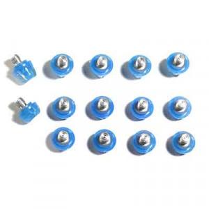 14x tacos goma TPU botas fútbol adidas Studiamonds azul - 14 uds. tacos recambiables de plástico TPU de 8x6mm + 1x6mm repuesto posición delantera y 4x9mm + 1x9mm repuesto posición trasera para botas de fútbol adidas (excepto World Cup y Kaiser) - azul traslúcido
