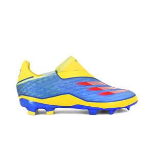adidas X GHOSTED+ FG J - Botas de fútbol sin cordones infantiles adidas FG para césped natural o artificial de última generación - amarillas y azules - pie derecho