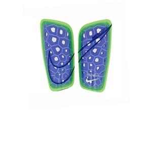 Espinilleras Nike Mercurial Lite - Espinilleras de fútbol Nike con mallas de sujeción - azules marino, amarillas flúor
