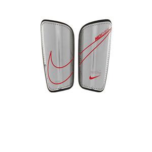 Nike Mercurial Hard Shell - Espinilleras de fútbol Nike con cintas de velcro - grises y rosas - frontal