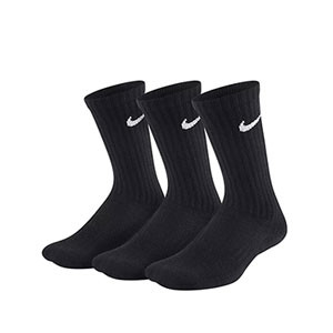 Pack calcetines media caña Nike Cushion Crew niño - Pack de 3 calcetines Nike Cushion Crew media caña - negros - frontal
