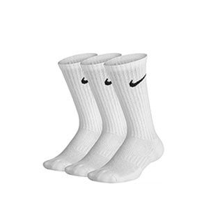 Pack calcetines media caña Nike Cushion Crew niño - Pack de 3 calcetines infantiles Nike Cushion Crew media caña - blancos - frontal
