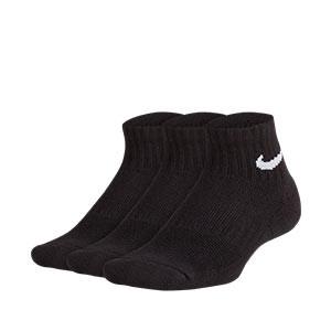 Calcetines tobilleros Nike Everyday niño 3 pares acolchados - Pack de 3 calcetines para niño Nike Cushion Crew tobilleros - negros - frontal