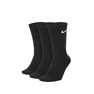 Calcetines Nike Everyday 3 pares finos - Pack de 3 calcetines media caña finos Nike - negros - frontal