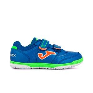 Joma Top Flex Jr Velcro IN - Zapatillas de fútbol sala infantiles con velcro suela lisa IN - azules
