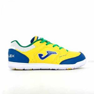 Joma Top Flex Jr IN - Zapatillas de fútbol sala infantiles suela lisa IN - amarillas, azules