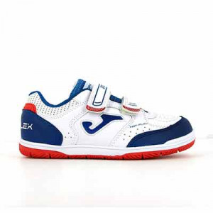 Joma Top Flex Jr Velcro IN - Zapatillas de fútbol sala infantiles con velcro suela lisa IN - blancas, azules