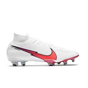 Nike Mercurial Superfly 7 Elite FG - Botas de fútbol con tobillera Nike FG para césped natural o artificial de última generación - blancas - pie derecho