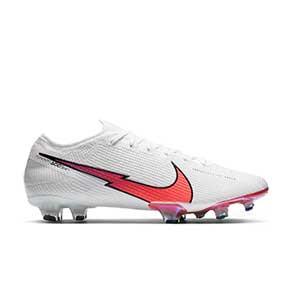Nike Mercurial Vapor 13 Elite FG - Botas de fútbol Nike FG para césped natural o artificial de última generación - blancas - pie derecho