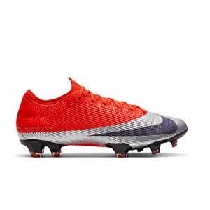 Nike Mercurial Vapor 13 Elite FG - Botas de fútbol Nike FG para césped natural o artificial de última generación - rojas y plateadas - derecho