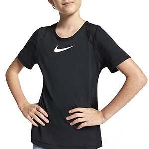 Camiseta Nike Pro niña - Camiseta de manga corta de niña para fútbol Nike - negra - frontal