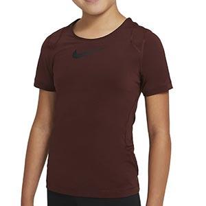 Camiseta Nike Pro niña - Camiseta de manga corta de niña para fútbol Nike - granate - frontal