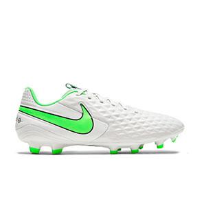 Nike Tiempo Legend 8 Academy FG/MG - Botas de fútbol de piel Nike FG/MG para césped artificial - grises claros, verdes, negras - pie derecho