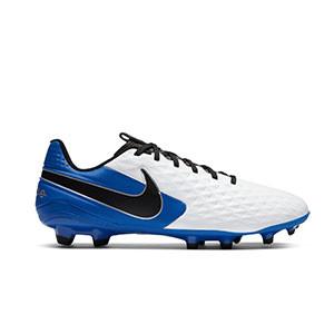 Nike Tiempo Legend 8 Academy FG/MG - Botas de fútbol Nike de piel FG/MG para césped artificial - blancas y azules - pie derecho