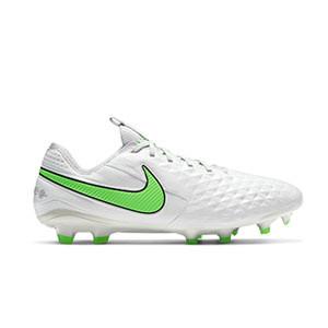 Nike Tiempo Legend 8 Elite FG - Botas de fútbol de piel de canguro Nike FG para césped natural o artificial de última generación - grises claros, verdes, negras - pie derecho