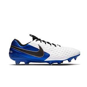 Nike Tiempo Legend 8 Elite FG - Botas de fútbol de piel de canguro Nike FG para césped natural o artificial de última generación - blancas y azules - pie derecho
