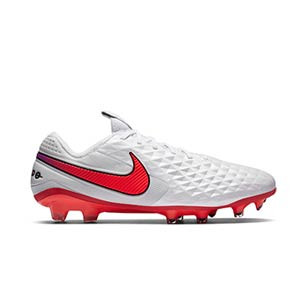 Nike Tiempo Legend 8 Elite FG - Botas de fútbol de piel de canguro Nike FG para césped natural o artificial de última generación - blancas - pie derecho