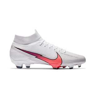 Nike Mercurial Superfly 7 Pro FG - Botas de fútbol con tobillera Nike FG para césped natural o artificial de última generación - blancas - pie derecho