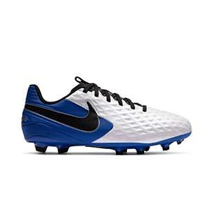 Nike Tiempo Legend 8 Academy FG/MG Jr - Botas de fútbol Nike de piel para niño FG para césped artificial - blancas y azules - pie derecho