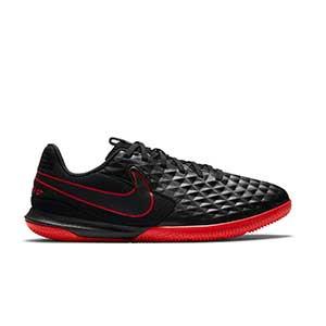 Nike Tiempo Legend 8 Academy IC Jr - Zapatillas de fútbol sala de piel para niño Nike con suela lisa IC - negras - pie derecho
