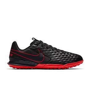 Nike Tiempo Legend 8 Academy TF Jr - Zapatillas de fútbol multitaco de piel para niño Nike con suela turf - negras - pie derecho