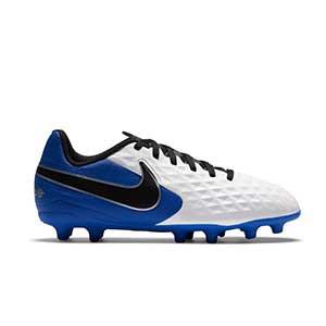 Nike Tiempo Legend 8 Club FG/MG Jr - Botas de fútbol Nike para niño FG/MG para césped artificial - blancas y azules - pie derecho
