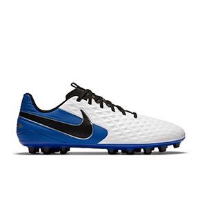 Nike Tiempo Legend 8 Academy AG - Botas de fútbol de piel Nike AG para césped artificial - blancas y azules - pie derecho