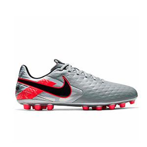 Nike Tiempo Legend 8 Academy AG - Botas de fútbol de piel Nike AG para césped artificial - plateadas y rosas - derecho