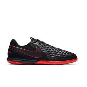 Nike Tiempo Legend 8 Academy IC - Zapatillas de fútbol sala de piel Nike con suela lisa IC - negras - pie derecho