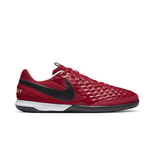 Nike Tiempo Legend 8 Academy IC - Zapatillas de fútbol sala de piel Nike con suela lisa IC - granates - pie derecho