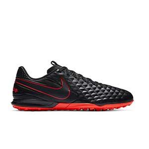 Nike Tiempo Legend 8 Academy TF - Zapatillas de fútbol multitaco Nike de piel con suela turf - negras - pie derecho