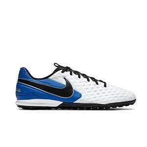 Nike Tiempo Legend 8 Academy TF - Zapatillas de fútbol multitaco Nike de piel con suela turf - blancas y azules - pie derecho