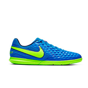 Nike Tiempo Legend 8 Club IC - Zapatillas de fútbol sala Nike FootballX con suela lisa IC - azules y amarillas - derecho