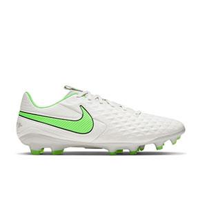 Nike Tiempo Legend 8 Pro FG - Botas de fútbol de piel Nike FG para césped natural o artificial de última generación - grises claros, verdes, negras - pie derecho