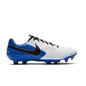 Nike Tiempo Legend 8 Pro FG - Botas de fútbol de piel Nike FG para césped natural o artificial de última generación - blancas y azules - pie derecho
