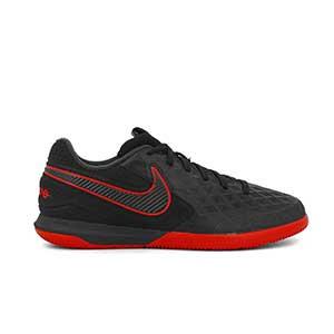 Nike Tiempo React Legend 8 Pro IC - Zapatillas de fútbol sala de piel Nike con suela lisa IC - negras - pie derecho