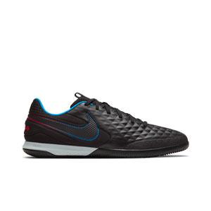 Nike Tiempo React Legend 8 Pro IC - Zapatillas de fútbol sala Nike de piel FootballX con suela lisa IC - negras - pie derecho