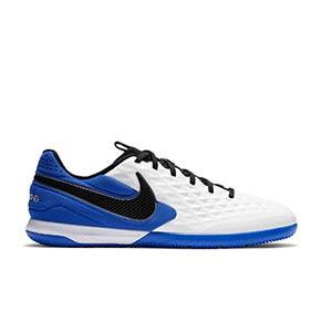 Nike Tiempo React Legend 8 Pro IC - Zapatillas de fútbol sala de piel Nike con suela lisa IC - blancas y azules - pie derecho