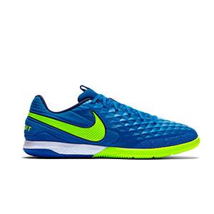 Nike Tiempo React Legend 8 Pro IC - Zapatillas de fútbol sala de piel Nike con suela lisa IC - azules y amarillas - derecho