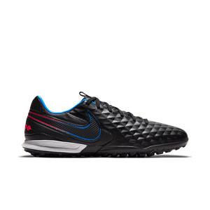 Nike Tiempo Legend 8 Pro TF - Zapatillas de fútbol multitaco Nike de piel con suela turf - negras - pie derecho