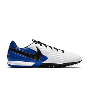Nike Tiempo Legend 8 Pro TF - Zapatillas de fútbol multitaco Nike de piel Football con suela turf - blancas y azules - pie derecho
