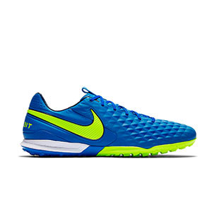 Nike Tiempo Legend 8 Pro TF - Zapatillas de fútbol multitaco Nike de piel FootballX con suela turf - azules y amarillas - derecho